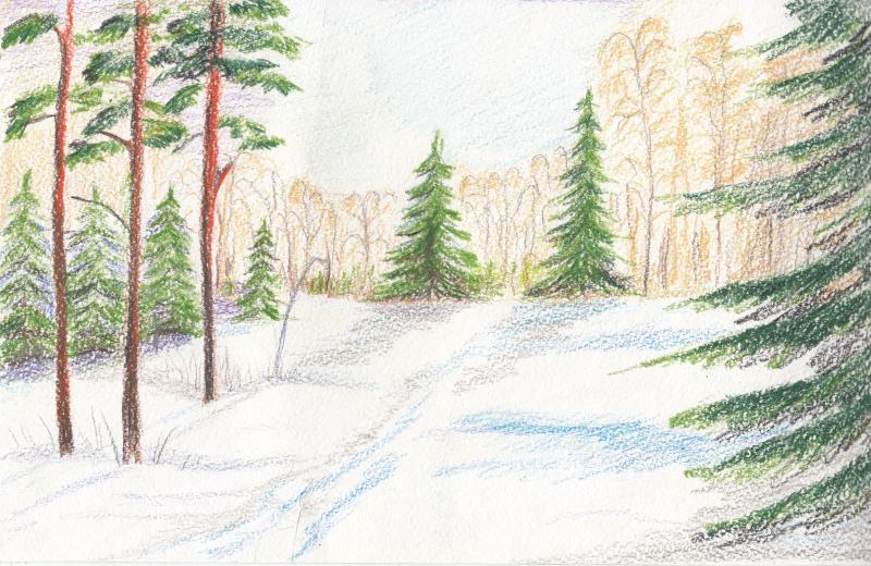 лес зимой рисунок легкий месяца нет чело